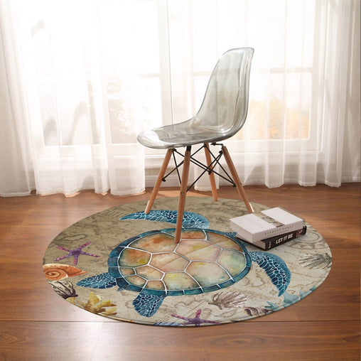 Sandy Turtle Round Mat-Sandy Turtle-Little Squiffy