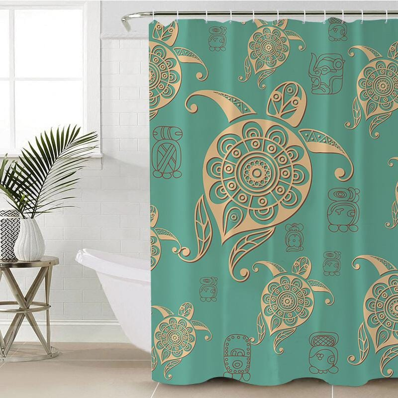 Green Sea Turtle Shower Curtain-Green Sea Turtle-Little Squiffy