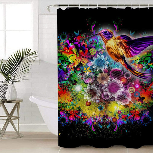 Humming Bird Shower Curtain-Humming Bird-Little Squiffy