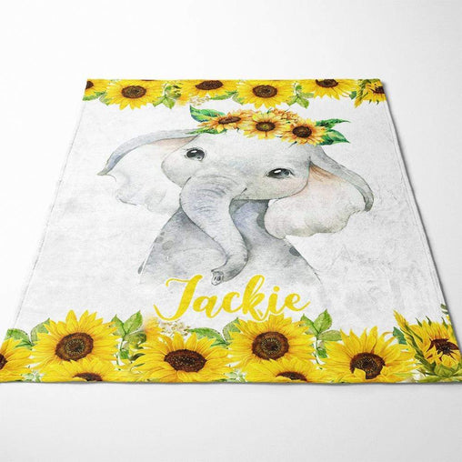 Baby Elephant - Floral Personalised Squiffy Minky Blanket-personalised-Little Squiffy