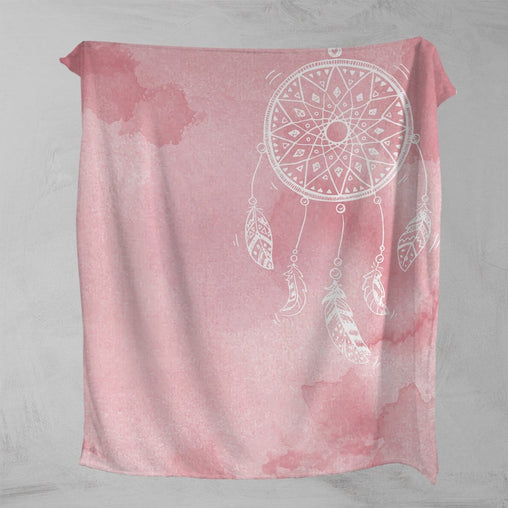 Bahaman Sea Pink Dreamcatcher Squiffy Minky Blanket-Bahaman Sea Pink Dreamcatcher-Little Squiffy