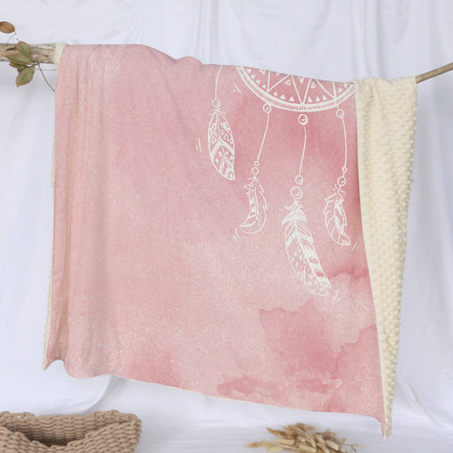 Bahaman Sea Pink Dreamcatcher Deluxe Minky Blanket-Bahaman Sea Pink Dreamcatcher-Little Squiffy
