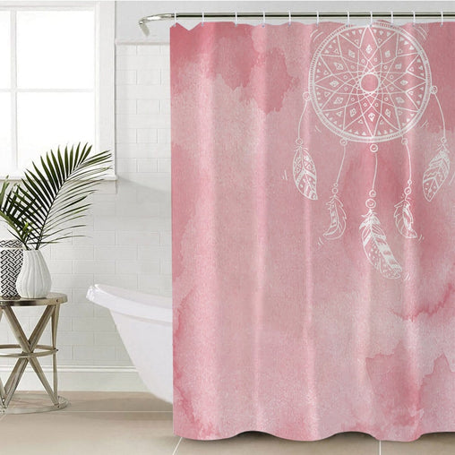 Bahaman Sea Pink Dreamcatcher Shower Curtain-Bahaman Sea Pink Dreamcatcher-Little Squiffy