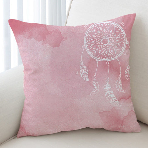 Bahaman Sea Pink Dreamcatcher Cushion Cover-Bahaman Sea Pink Dreamcatcher-Little Squiffy