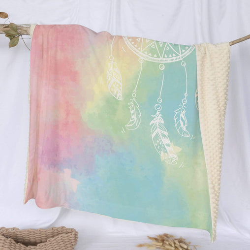 Bahaman Sea Rainbow Dreamcatcher Deluxe Minky Blanket-Bahaman Sea Rainbow Dreamcatcher-Little Squiffy