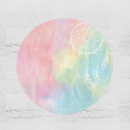 Bahaman Sea Rainbow Dreamcatcher Round Minky Blanket-Bahaman Sea Rainbow Dreamcatcher-Little Squiffy