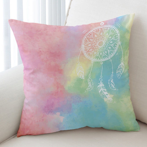 Bahaman Sea Rainbow Dreamcatcher Cushion Cover-Bahaman Sea Rainbow Dreamcatcher-Little Squiffy