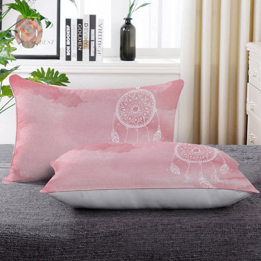 Bahaman Sea Pink Dreamcatcher Pillow Cases-Bahaman Sea Pink Dreamcatcher-Little Squiffy