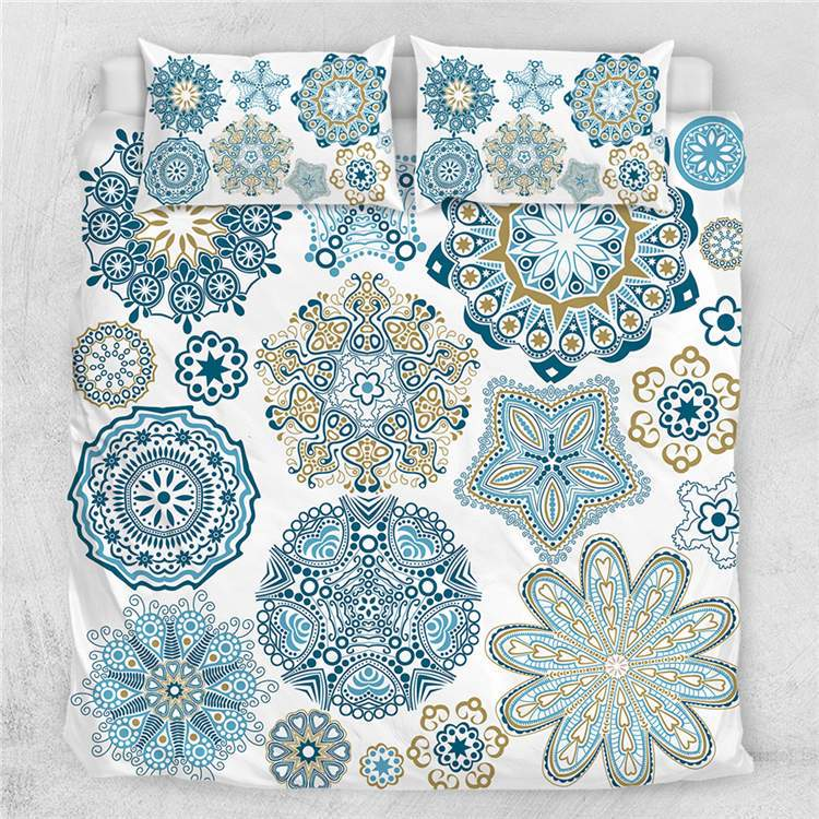 Turquoise Mosaic Mandala Quilt Cover Set-Little Squiffy