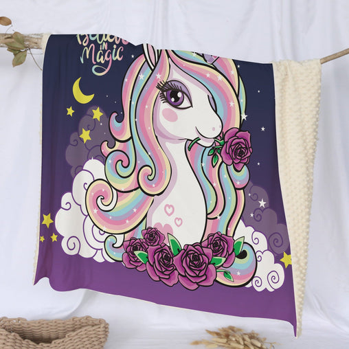 Believe In Magic Unicorn Deluxe Minky Blanket-Believe In Magic Unicorn-Little Squiffy