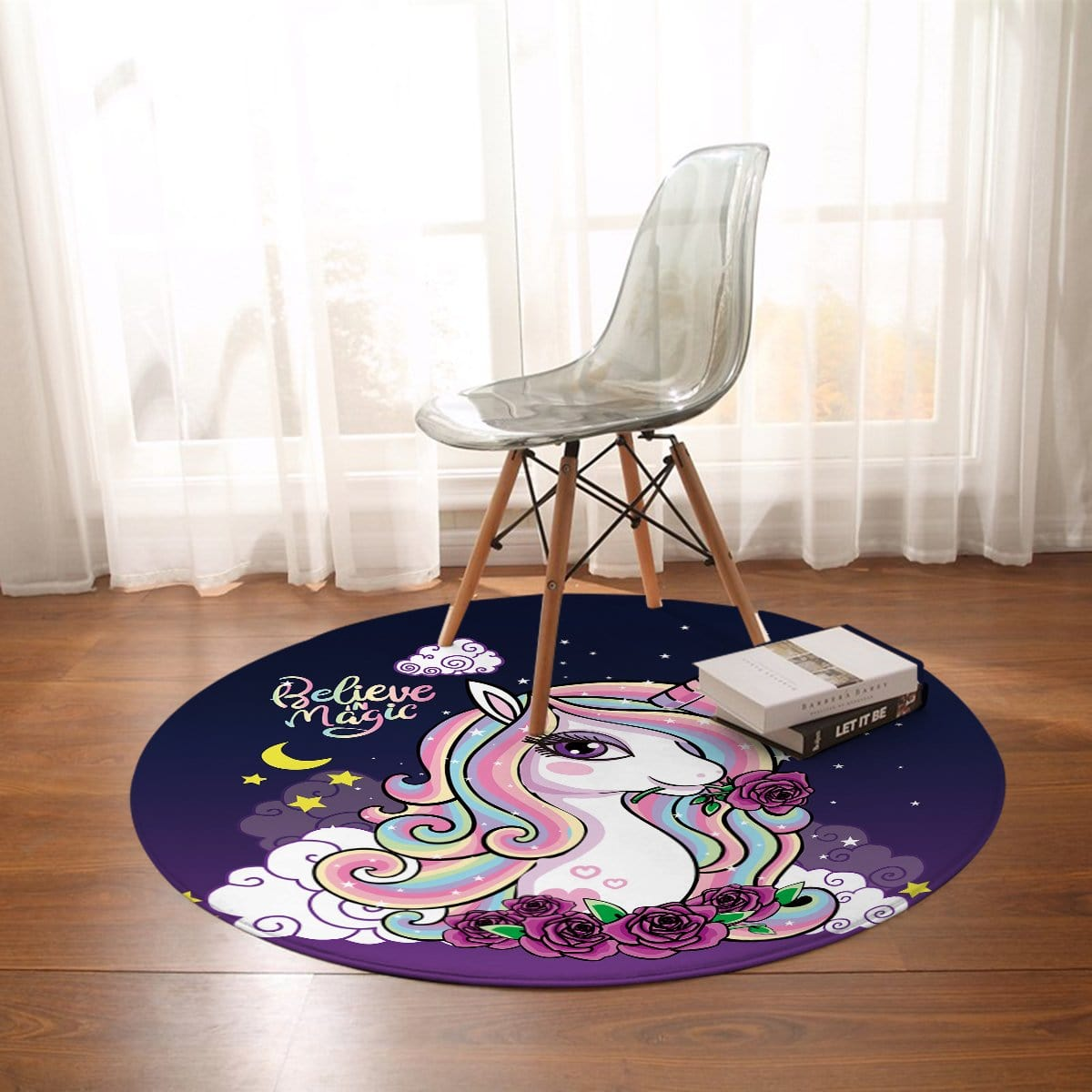Believe In Magic Unicorn Round Mat-Believe In Magic Unicorn-Little Squiffy