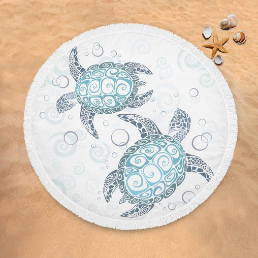 Blue Turtles Lightweight Beach Towel-Blue Turtles-Little Squiffy