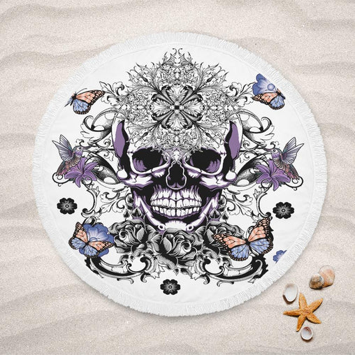 Butterfly Sugar Skull Lightweight Beach Towel-Butterfly Sugar Skull-Little Squiffy