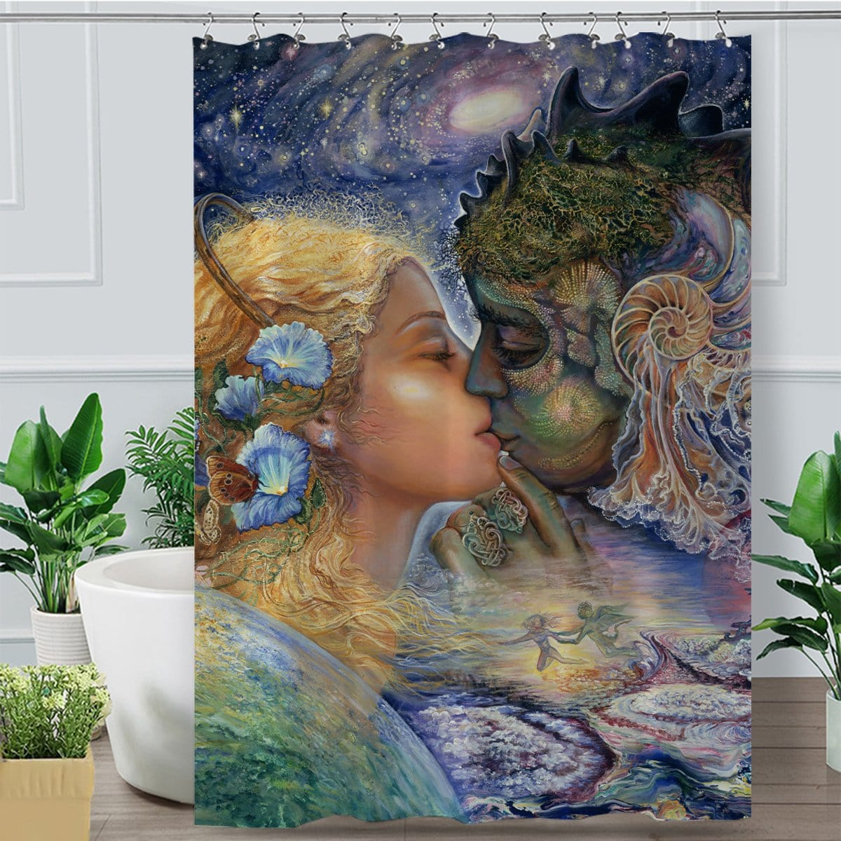 Cosmic Kiss Shower Curtain-Josephine Wall-Little Squiffy