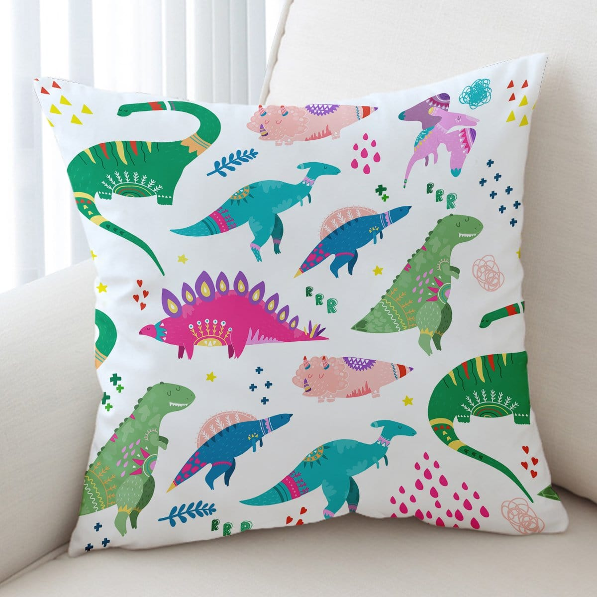 Dinosaur Wonderland Cushion Cover-Dinosaur Wonderland-Little Squiffy
