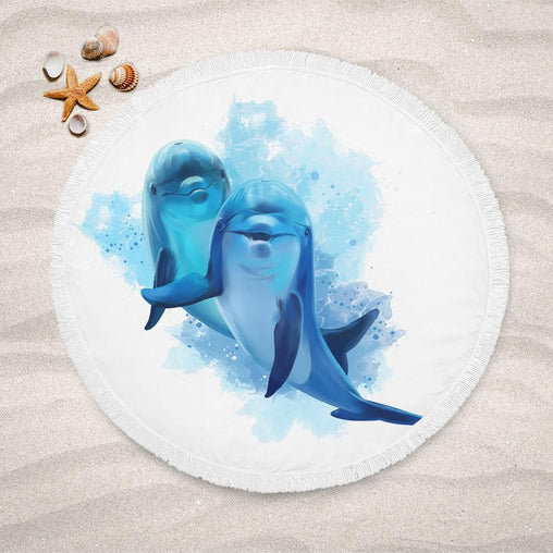 Dolphins Of The Sea Lightweight Beach Towel-Dolphins Of The Sea-Little Squiffy