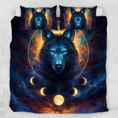 Galaxy Wolf Moon Dreamcatcher Quilt Cover Set-Little Squiffy