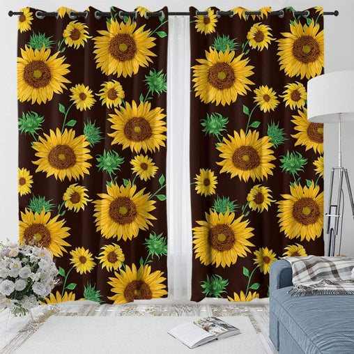 Farmhouse Sunflower Curtain Set-Farmhouse Sunflower-Little Squiffy