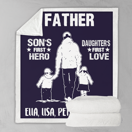 First Hero First Love Father Personalised Blanket-Personalised-Little Squiffy