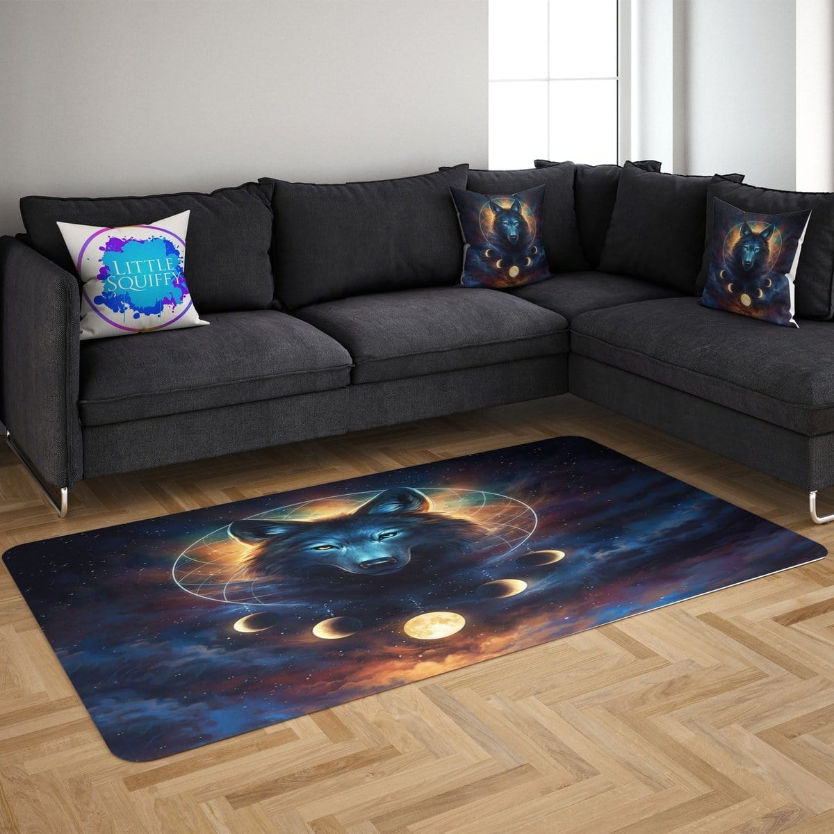 Galaxy Wolf Moon Dreamcatcher Mat