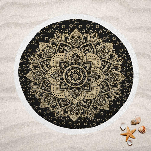 Golden Flower Mandala Lightweight Beach Towel-Golden Flower Mandala-Little Squiffy