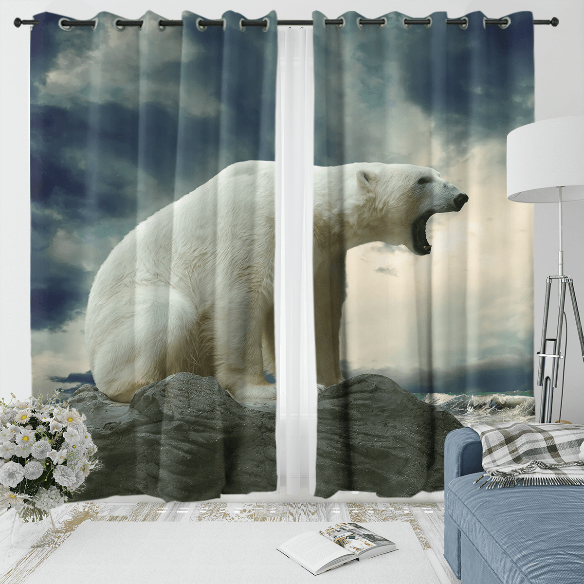 Polar Bear Roar Curtain Set-Polar Bear Roar-Little Squiffy