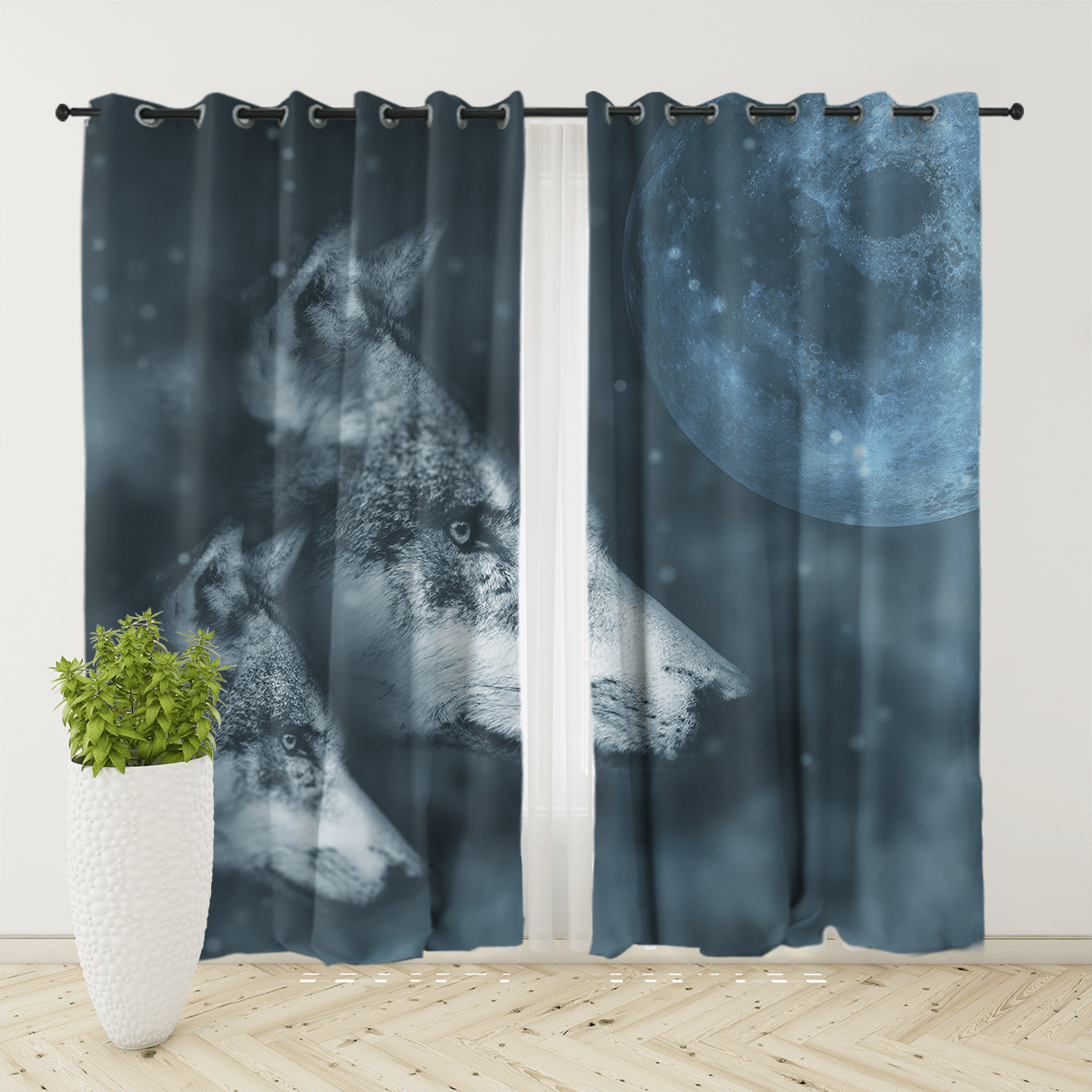 Grey Wolf And Pup Curtain Set-Grey Wolf And Pup-Little Squiffy