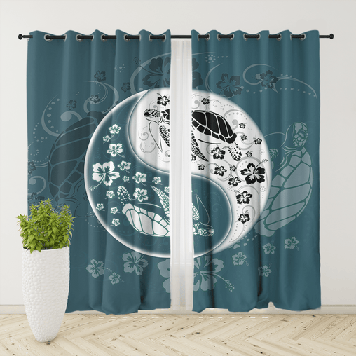Yin Yang Sea Turtles Curtain Set-Yin Yang Sea Turtles-Little Squiffy