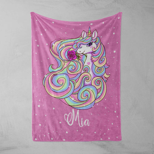 Magical Unicorn Personalised Squiffy Minky Blanket-Personalised-Little Squiffy