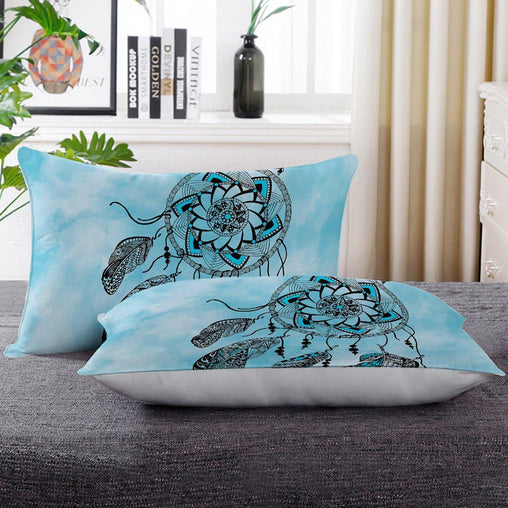Namaste Dreamcatcher Blue Pillow Cases-Namaste Dreamcatcher Blue-Little Squiffy
