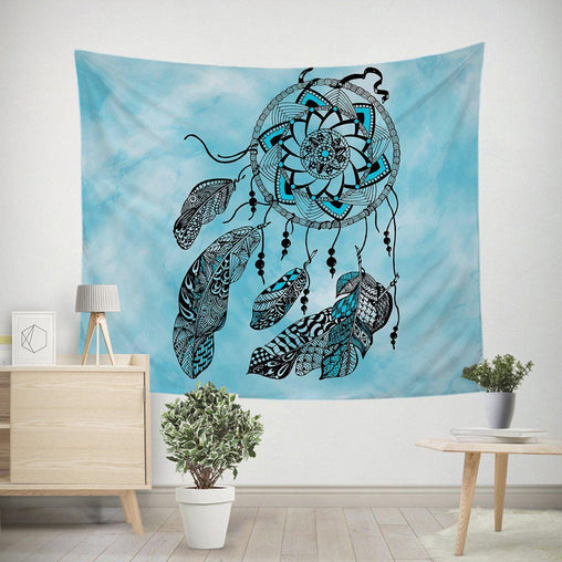 Namaste Dreamcatcher Blue Tapestry-Namaste Dreamcatcher Blue-Little Squiffy