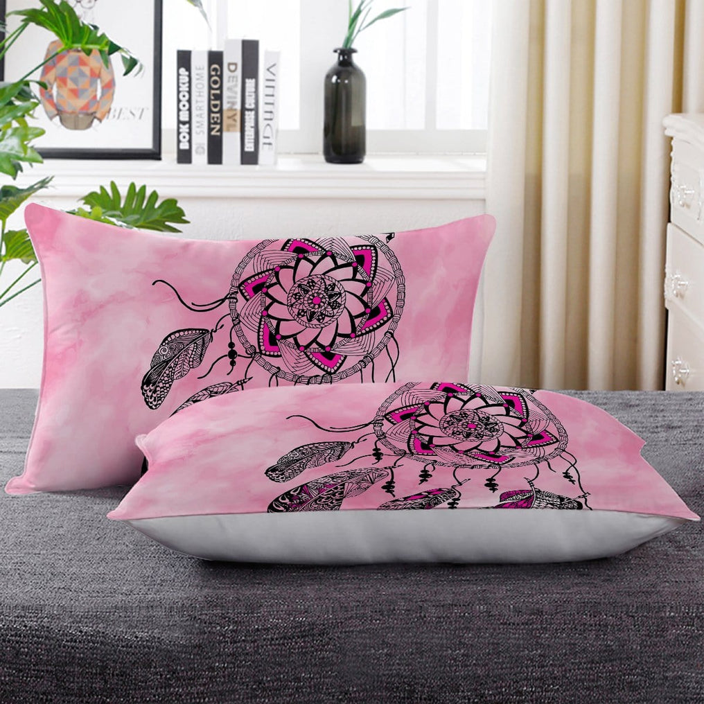 Namaste Dreamcatcher Pink Pillow Cases-Namaste Dreamcatcher Pink-Little Squiffy