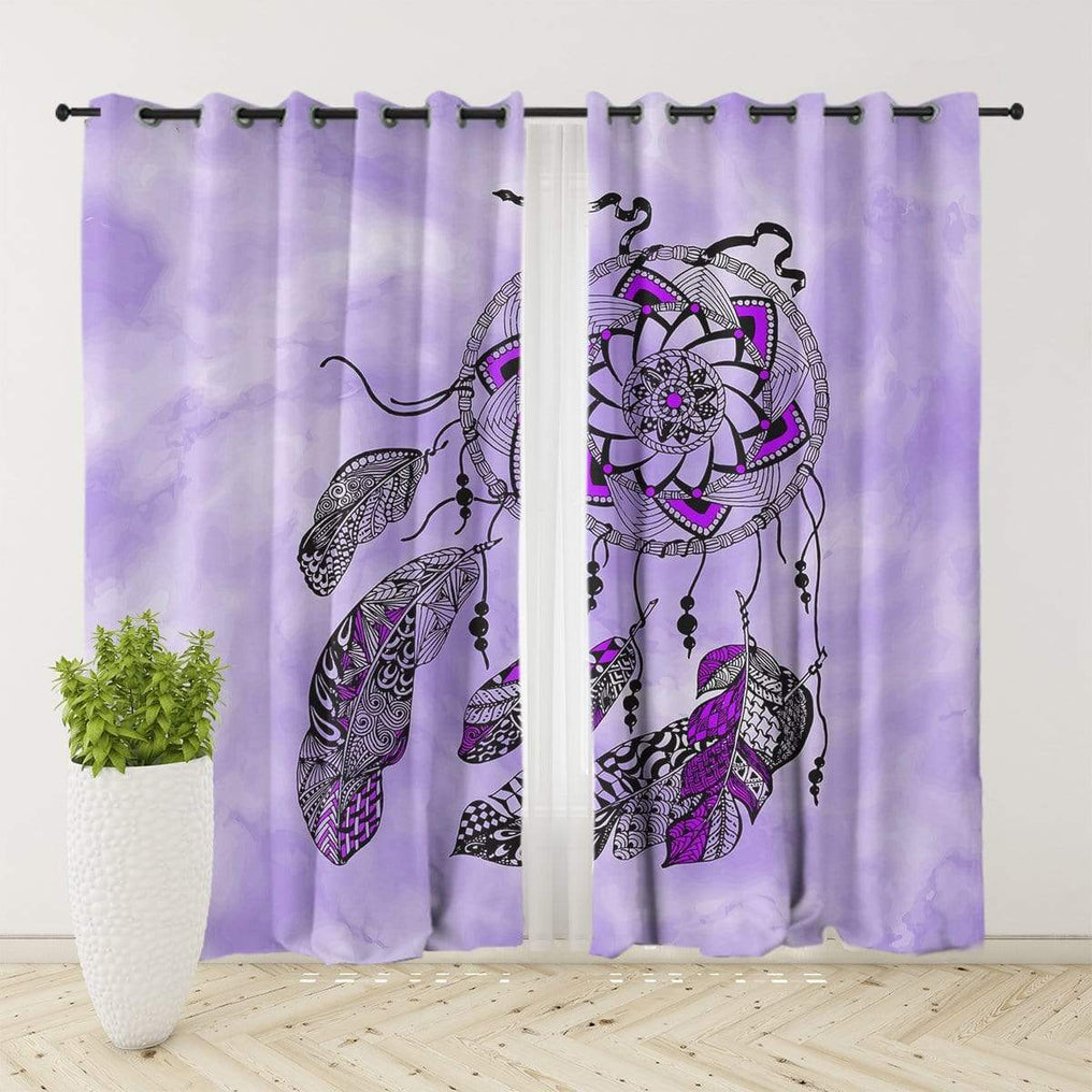 Namaste Dreamcatcher Purple Curtain Set-Namaste Dreamcatcher Purple-Little Squiffy