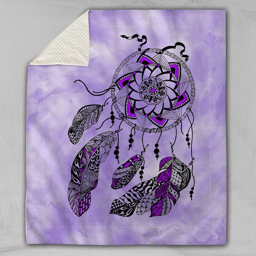 Namaste Dreamcatcher Purple Deluxe Minky Blanket-Namaste Dreamcatcher Purple-Little Squiffy
