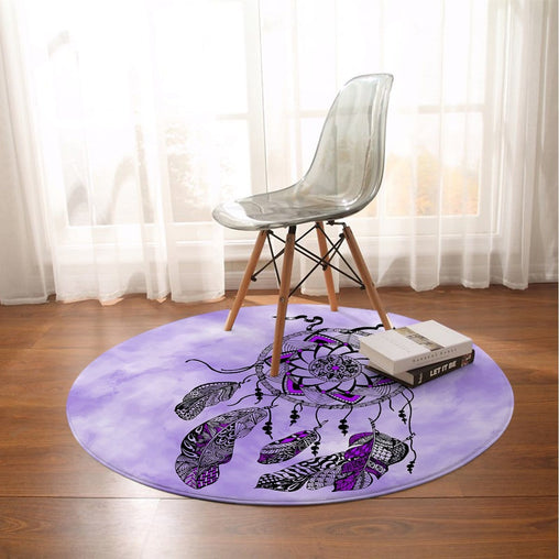 Namaste Dreamcatcher Purple Round Mat-Namaste Dreamcatcher Purple-Little Squiffy