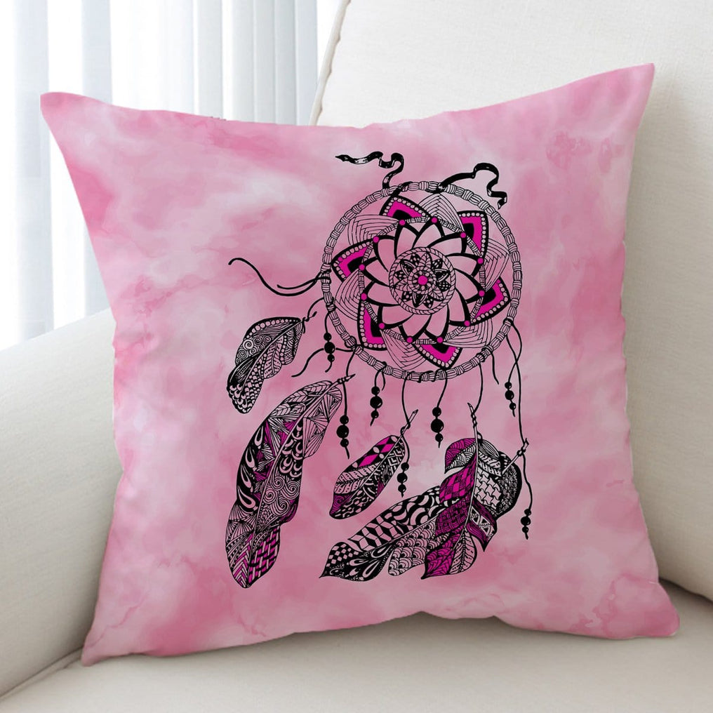 Namaste Dreamcatcher Pink Cushion Cover-Namaste Dreamcatcher Pink-Little Squiffy