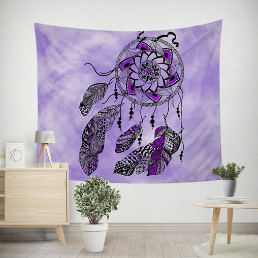 Namaste Dreamcatcher Purple Tapestry-Namaste Dreamcatcher Purple-Little Squiffy
