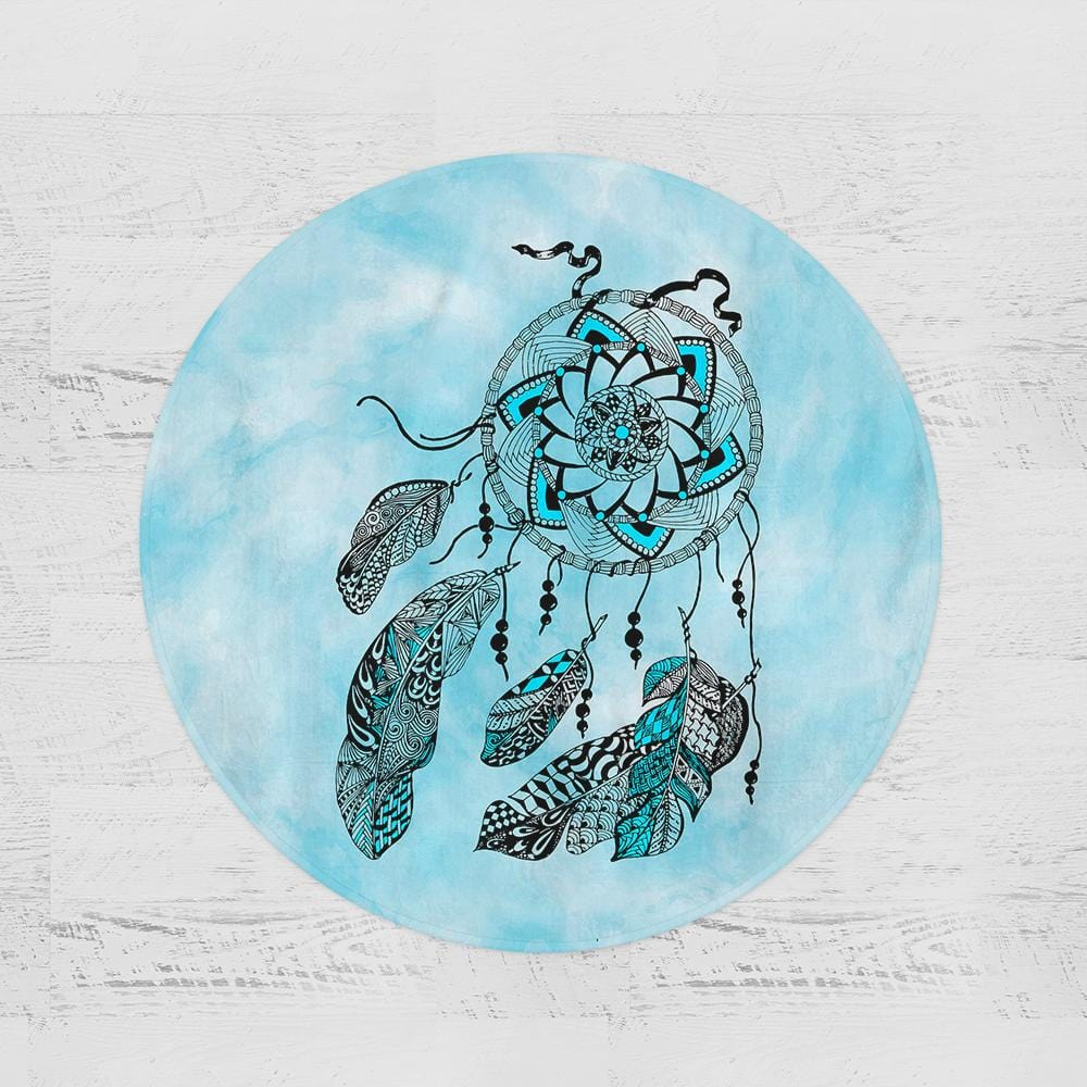 Namaste Dreamcatcher Blue Round Minky Blanket-Namaste Dreamcatcher Blue-Little Squiffy