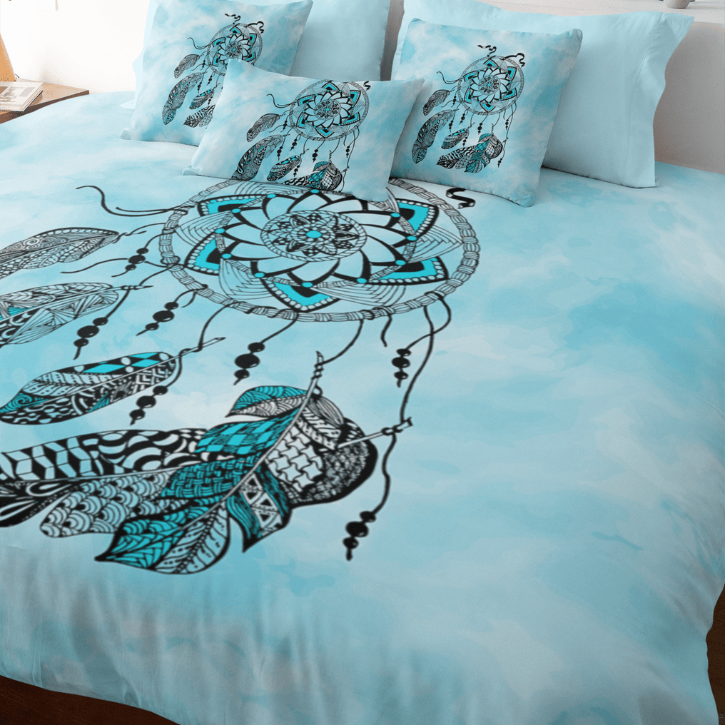 Namaste Dreamcatcher Blue Quilt Cover Set-Namaste Dreamcatcher Blue-Little Squiffy