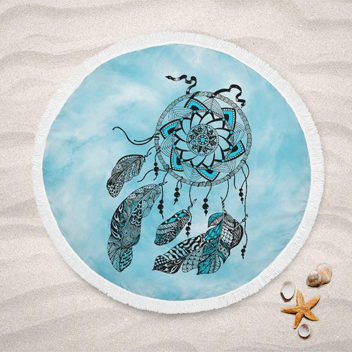 Namaste Dreamcatcher Blue Lightweight Beach Towel-Namaste Dreamcatcher Blue-Little Squiffy
