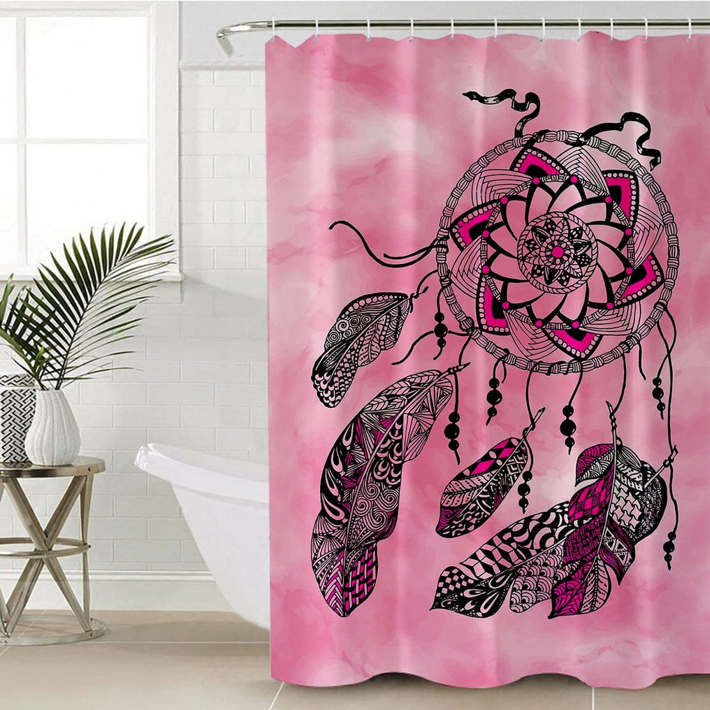 Namaste Dreamcatcher Pink Shower Curtain-Namaste Dreamcatcher Pink-Little Squiffy