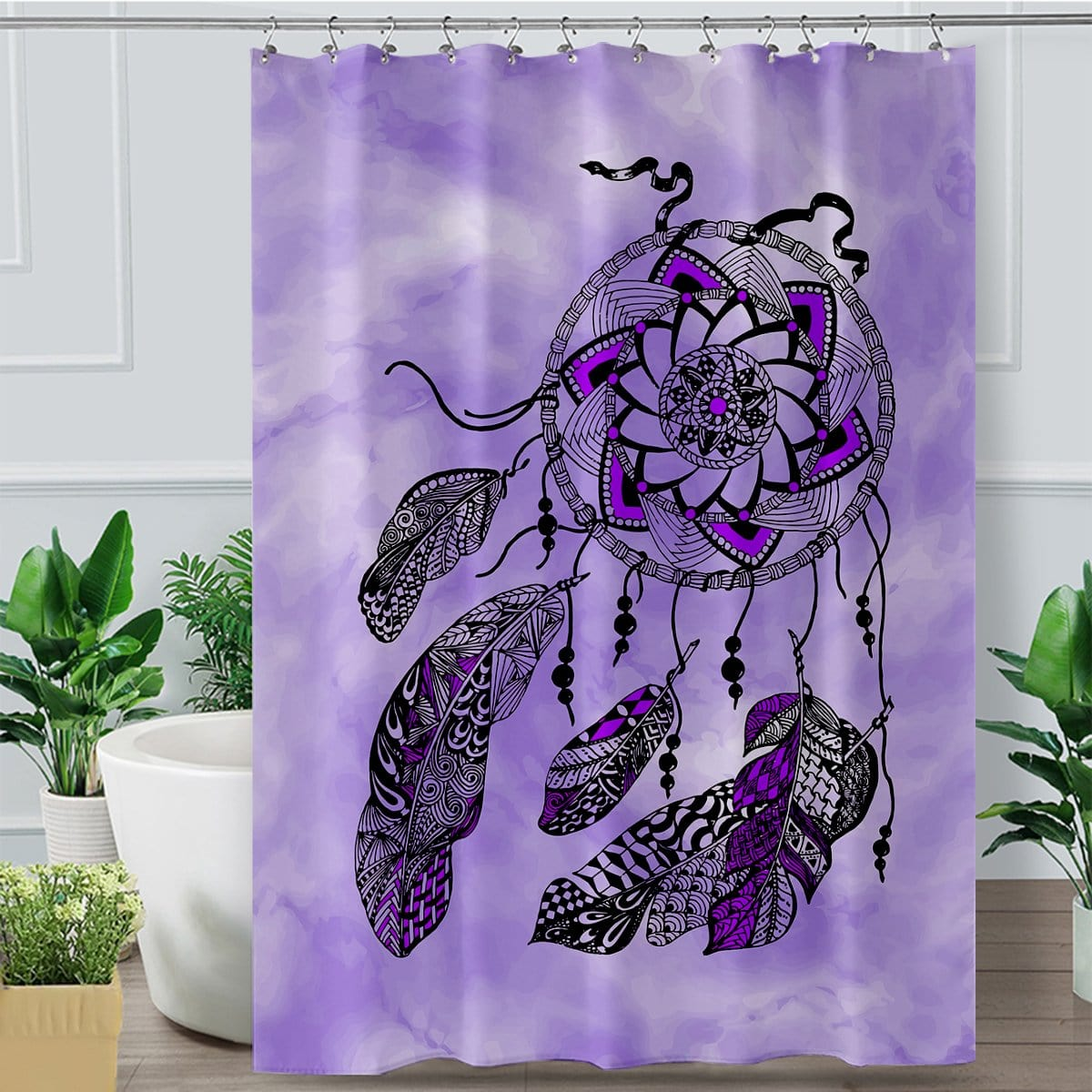 Namaste Dreamcatcher Purple Shower Curtain-Namaste Dreamcatcher Purple-Little Squiffy