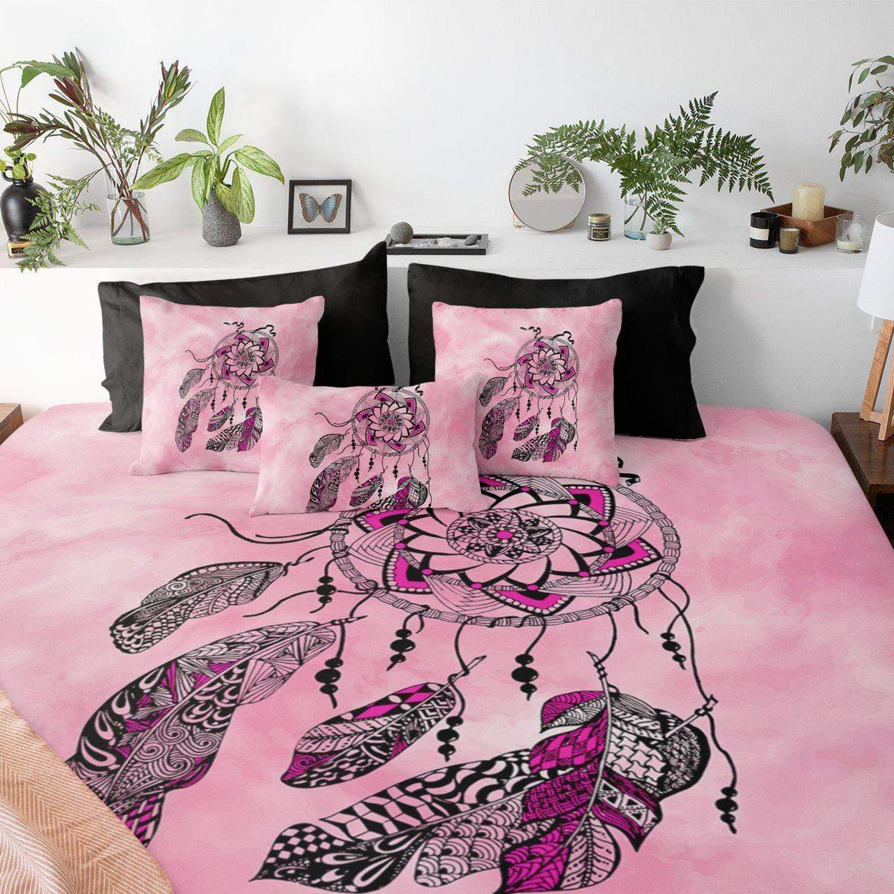 Namaste Dreamcatcher Pink Quilt Cover Set-Namaste Dreamcatcher Pink-Little Squiffy