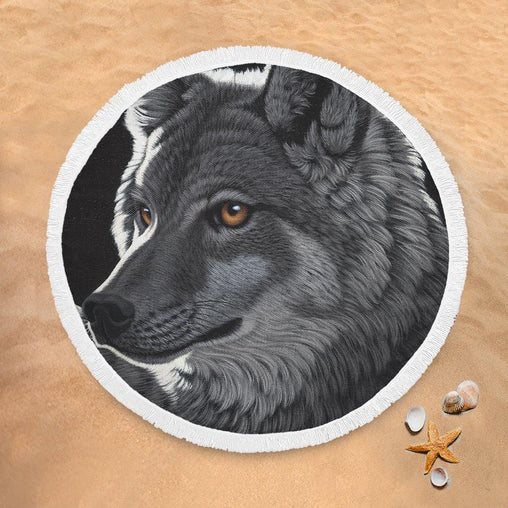 Night Wolf Lightweight Beach Towel-Schim Schimmel-Little Squiffy