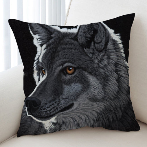 Night Wolf Cushion Cover-Schim Schimmel-Little Squiffy