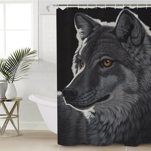 Night Wolf Shower Curtain-Schim Schimmel-Little Squiffy