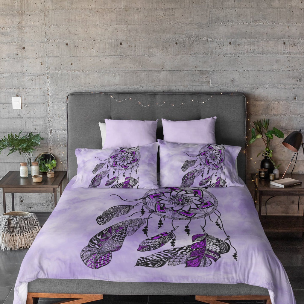 Namaste Dreamcatcher Purple Quilt Cover Set-Namaste Dreamcatcher Purple-Little Squiffy