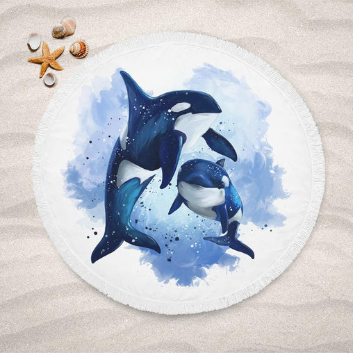 Orcas Of The Sea Lightweight Beach Towel-Orcas Of The Sea-Little Squiffy
