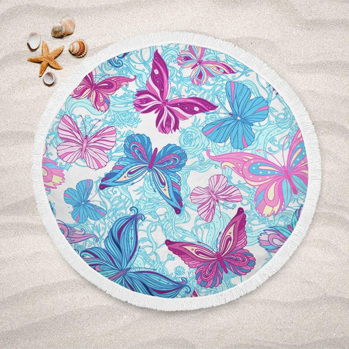 Pastel Butterflies Lightweight Beach Towel-Pastel Butterflies-Little Squiffy