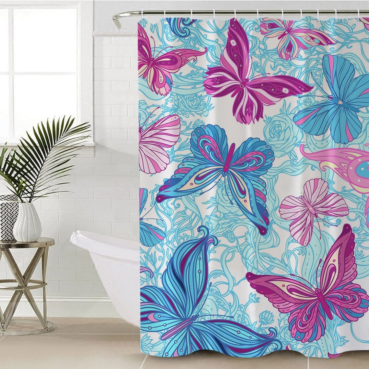 Pastel Butterflies Shower Curtain-Pastel Butterflies-Little Squiffy